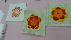 Three squares showing the progression of painting to shading to finished.
